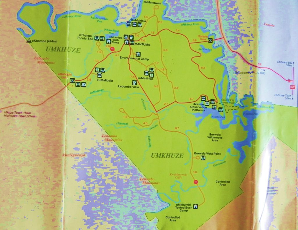 uMkhuze Game Reserve Map
